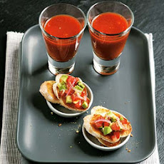 Bloody Mary shots with avocado toasts
