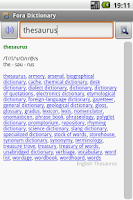 Screenshot of English Thesaurus Package