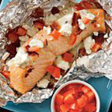 Grilled Salmon, Bacon & Feta Packets
