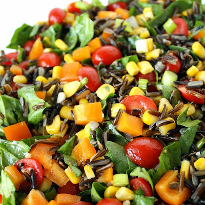Wild Rice Spinach Salad with Lemon-Garlic Dressing