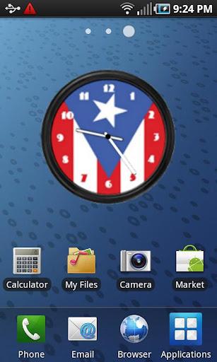 【免費個人化App】Puerto Rico Flag Clock2 Widget-APP點子