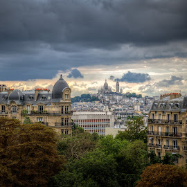 Cloudy Montmartre by Camille Marzuoli - Buildings & Architecture Statues & Monuments