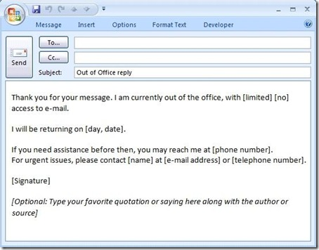 Email Phone Message Template Outlook