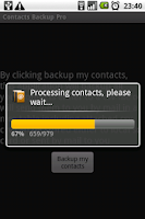 Screenshot of Contacts Backup Trial