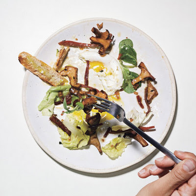 Warm Chanterelle Salad with Speck and Poached Eggs