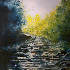 chimney rock stream by Delores Mills - Painting All Painting (  )