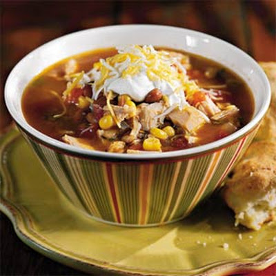 Fiesta Turkey Soup With Green Chile Biscuits