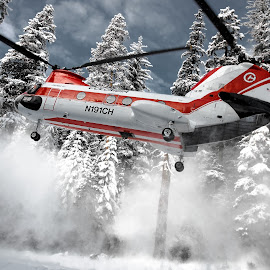 SnoWash! by Thomas Larkin - Transportation Helicopters ( helicopter, ch-46, tandem rotor, ch46, bv107-ii, boeing, vertol, air, transport )
