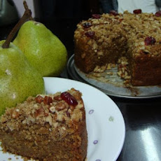 Pear Coffee Cake with Ginger Pecan Crunch Topping
