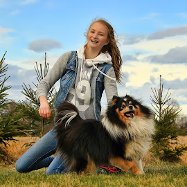 Girl (age 14) and dog having fun by Jane Bjerkli - Babies & Children Children Candids
