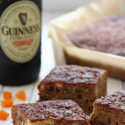 Apricot, Date and Irish Stout Slices with Stout Cream Sauce