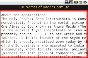 Screenshot of 101 Names of Dadar Hormuzd