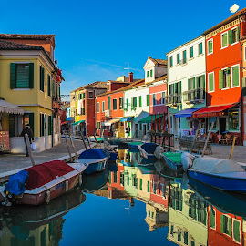 Burano Island by Tina Lim - Buildings & Architecture Homes ( water, reflection, houses, colors, boats, burano, windows, italy, colorful, mood factory, vibrant, happiness, January, moods, emotions, inspiration,  )