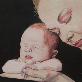Eva 2 by Marilyn Brown - Drawing All Drawing ( pencil, mother, coloured, on, baby )