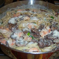 Shrimp and Portobello Mushroom Fettuccine