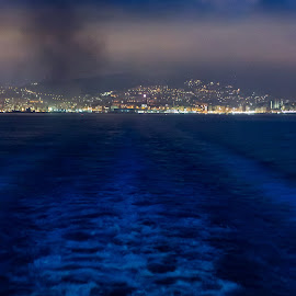Leaving Genoa by Cesare Morganti - Landscapes Travel ( wake, ship, sea, night, seascape, nightscape )