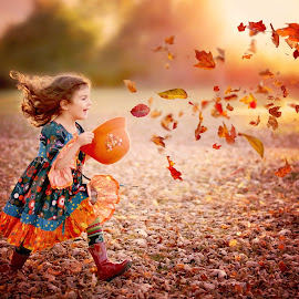 Chasing Autumn by Darya Morreale - Babies & Children Children Candids ( girl running, flying leaves, chasing, autumn, catching, hat,  )