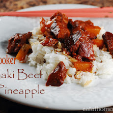 3 Ingredient Slow Cooker Beef Teriyaki with Pineapple
