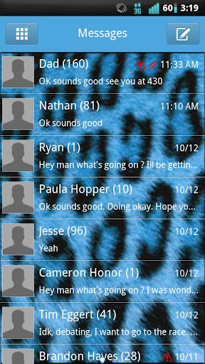 GO SMS Blue Cheetah Theme