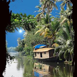 Kottayam by Francesca Riggio - Transportation Boats ( kottayam, kerala, india, boat, river )