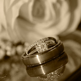 timeless by Jody Jedlicka - Wedding Details ( wedding photography, monochrome, details, wedding, rings )