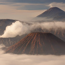 Mt Bromo by Tim Pryce - Landscapes Mountains & Hills ( clouds, volcano, mountain, semaru, indonesia, east java, bromo )