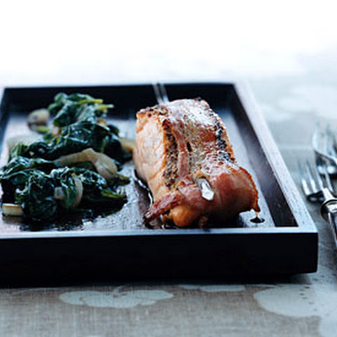 Bacon-Wrapped Salmon with Wilted Spinach
