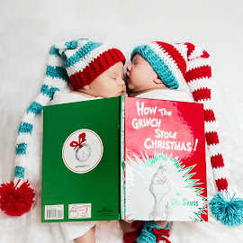 Grinch babies by Jenny Hammer - Babies & Children Babies ( girl, book, baby, cute, boy, hat )
