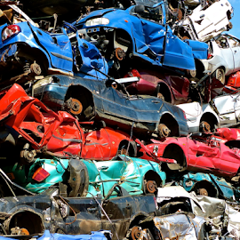 Multi-storey parking by Laura Payne - Transportation Automobiles ( body, old, beaucoup, automobile, rack, used, aged, heap, colour, metal, light, crash, black, lots, rot, flat, white, scrap, many, multi, stack, abundance, car, multitude, dump, bruise, yard, wheel, jumble, crush, vehicle, plenty, hang, iron, transport, rise, grey, pile, squash, rust, spent, dent, hole, park, green, obsolete, ferrous, silver, steel, mix, broken, red, blue, high, tight )