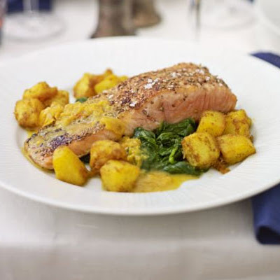 Spice-crusted Salmon With Sautéed Potatoes & Spinach