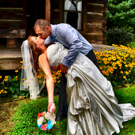 Sealed With a Kiss by Julie Dant - People Couples ( bridal, bridal art, wedding, couple, bride and groom, log cabin )