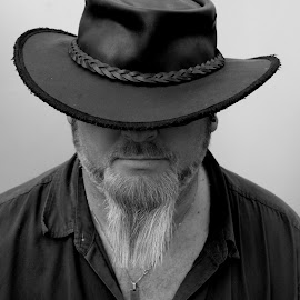 Self #1 by Andy Turp - People Portraits of Men ( selfie, barmah, monochrome, beard, selfy, portrait, hat, Selfie, self shot, self portrait )