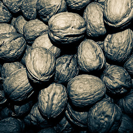 Walnuts by Alberto Secondi - Food & Drink Fruits & Vegetables ( nature, food, black & white, close up, walnuts )