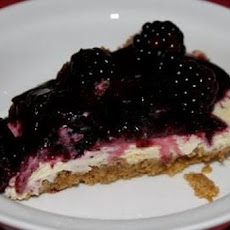 Almond Cheesecake with Sour Cream and Blackberries