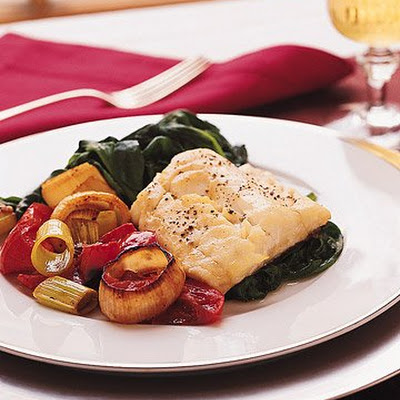 Roast Cod with Leeks, Tomatoes, and Spinach