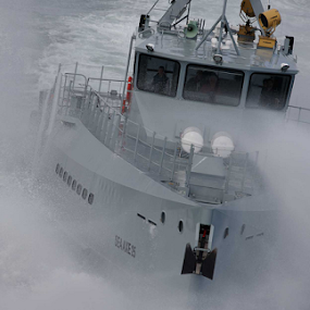 Awash! 2 of 3 by Anthony Allen - Transportation Boats ( stormy, shipping, patrol, vessel, sea spray, storm at sea, damen, rough water, fcs 5009 )