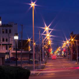 Quiet Rush by Pamela Vest - City,  Street & Park  Street Scenes ( clouds, intermediate photo 2, evening lights, 2013, motion lights, vern riffe center, color of light,  )