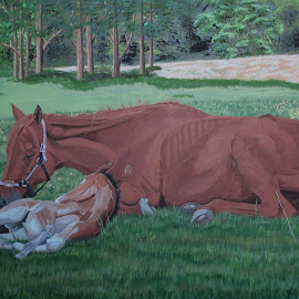 Life After R.S.P.C.A. Rescue by Marilyn Brown - Painting All Painting ( mare, with, little, thoroughbred )
