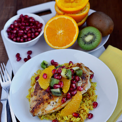 Orange Chicken Skillet with Winter Fruit Salsa