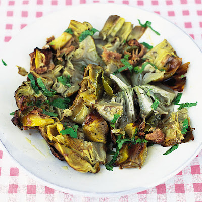 Cinder-baked Artichokes With Lemon, Bay & Prosciutto