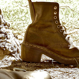 Boot by Beate Pilgreen - Novices Only Objects & Still Life ( park, brown, leather, rustic, boots,  )