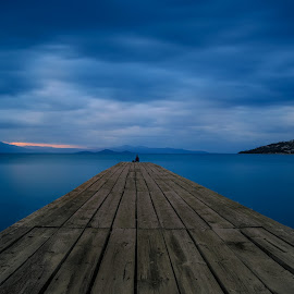 The lonely fisherman by Bill Peppas - Landscapes Waterscapes ( sea, cloudy, fisher, fisherman, lonely, dock )