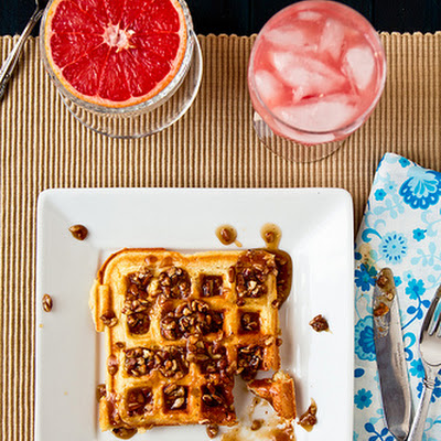 Waffles with Southern Comfort Praline Sauce