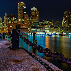 Boston skyline by Richard Cavalleri - City,  Street & Park  Skylines ( building, skyline, harbor, new england, boston, scene, night, scenic, view, massachusetts, nightscape )