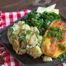 Golden Catfish with Sauteed Kale & Dijon Potato Salad