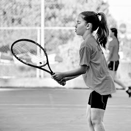 Tennis Girl by Saifun Naveh - Sports & Fitness Tennis ( girl, racket, b&w, teen, white, bw, sport, tennis, israel, black )