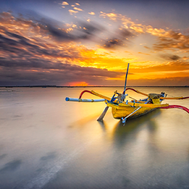 The Yellow Boat by Gede Suyoga - Transportation Boats ( sky, nature, transportation, sunrise, landscape, boat )