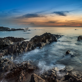 Sunset @ Pandak Beach by CK NG - Landscapes Beaches ( east coast, sunset, wave, rock, beach, pantai pandak )