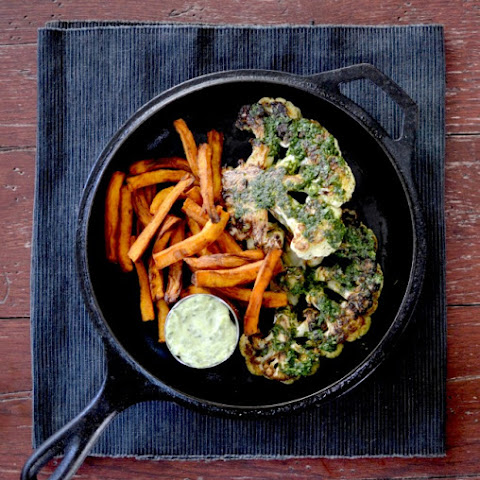 Chimichurri Cauliflower Steak With Sweet Potato Fries