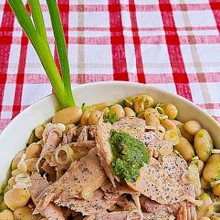 TUNA BELLY SALAD with cannellini beans and green wasabi sauce